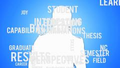 Student figure with typography and key terms Stock Footage