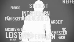 Student figure with typography and key terms in german language Stock Footage