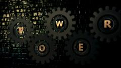 Inscription Power on a abstract gears episode 1 Stock Footage