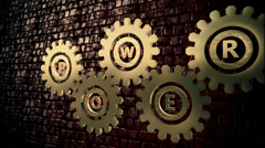 Inscription Power on a abstract gears episode 2 Stock Footage