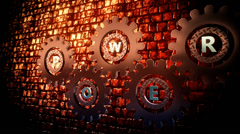Inscription Power on a abstract gears episode 3 Stock Footage