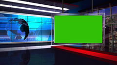 News TV Studio Set 34-Virtual Green Screen Tausta Loop Arkistovideo