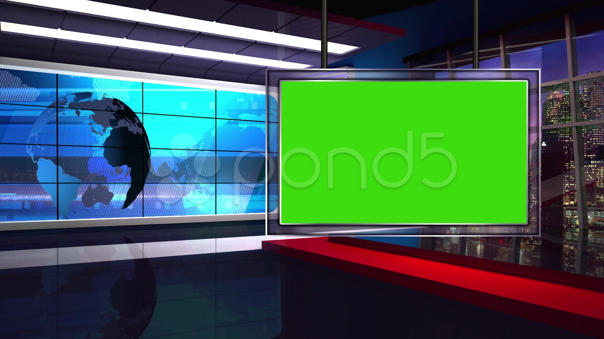 News Tv Studio Set 34 Virtual Green Screen Background Loop