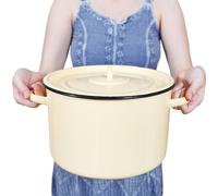 Woman with large closed saucepan isolated Stock Photos