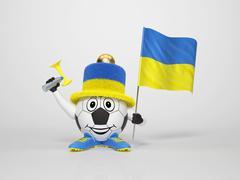soccer character fan supporting ukraine - stock illustration