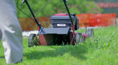 Cutting green Lawn Close up - stock footage