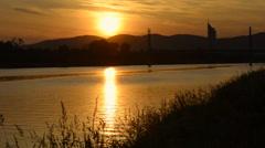 Sunrise at Vienna, Neue Donau (New Danube Branch) Stock Footage
