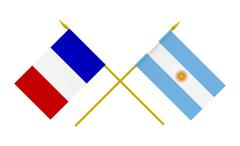 flags, argentina and france - stock photo