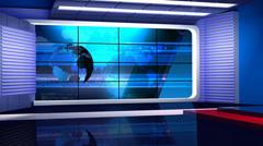 News TV Studio Set 35-Virtual Green Screen Background Loop - stock footage