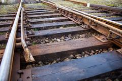 old railroad track - stock photo