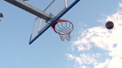 Slow-Mo: Basketball Player Scores A Basket By An Alley-Oop And Slam Dunk Stock Footage