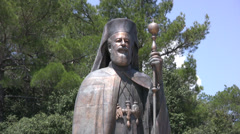 Stock Video Footage of Statue of Archbishop Makarios medium shot