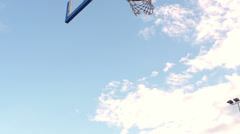 Slow-Mo: Professional Basketball Scoring A Basket By An Alley-Oop Stock Footage