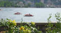 Italy, lake Como and town Como landscape. Flowers on embankment. Footage