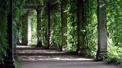 Shady walkway with columns Stock Footage