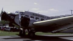 Full HD 1080p25 Junkers JU52 taxiing out of hangar (front) Stock Footage