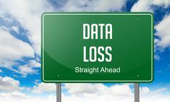 Stock Illustration of Data Loss on Green Highway Signpost.
