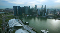 Aerial View on Singapore Marina Bay Sands Cityscape Stock Footage