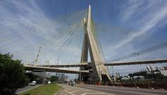 Timelapse View of Traffic at Octavio Frias de Oliveira Bridge, Sao Paulo, Brazil Stock Footage