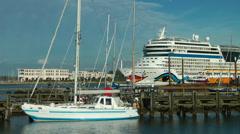 """Aida Mar"" leaves Rostock Harbour Stock Footage"