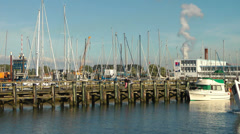 Fishing boat leaves Warnemunde (Rostock) harbour Stock Footage