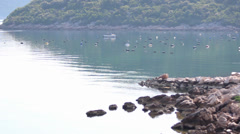 A fisherman collecting the catches of shellfish - stock footage