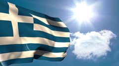 Greek national flag waving - stock footage