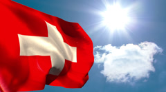 Swiss national flag waving - stock footage