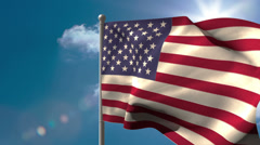 American national flag waving on flagpole - stock footage