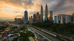 Time Lapse: Night to day of cityscape (Kuala Lumpur) Stock Footage