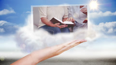 Hand presenting religion and praying clips Stock Footage