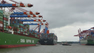 Stock Video Footage of Hamburg Waltershof Container Terminal