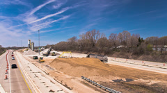 Expressway under contruction - time lapsed Stock Footage