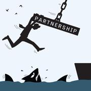 partnership helping and survive - stock illustration