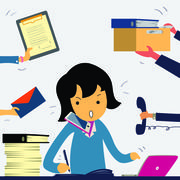 Very busy business woman Stock Illustration