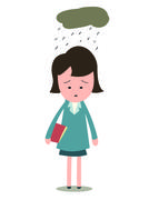 sad and upset businesswoman - stock illustration