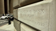 Federal Reserve Bank of New York. Federal reserve building downtown Manhattan. - stock footage