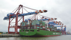 Hamburg port - Container Terminal Waltershof Stock Footage