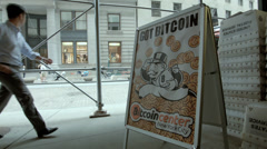 Bitcoin Center NYC. Bitcoin Currency. - stock footage