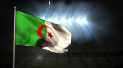 Stock Video Footage of Algeria national flag waving on flagpole