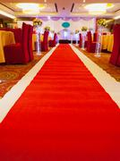 red carpet to the stage - stock photo