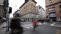 Rainy day in genova, italy. people crossing via xx settembre.blurred motion. Stock Footage