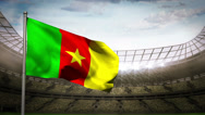 Stock Video Footage of Cameroon national flag waving on stadium arena