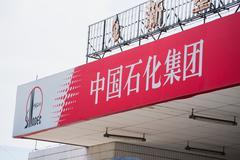sinopec(china petrochemical corporation) gas station sign - stock photo
