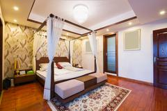luxury bedroom with chinese style - stock photo