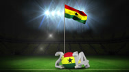 Stock Video Footage of Cameroon national flag waving on football pitch with message