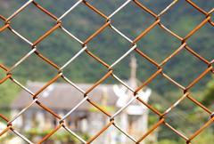 Seamless chain link fence - stock photo