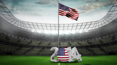 American national flag waving in football stadium - stock footage
