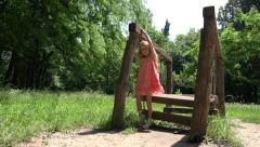 Ultra HD 4K Happy Child Smiling, Little Girl Playing Playground, Park, Children Stock Footage