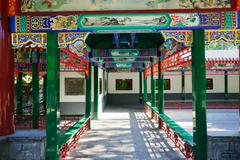 corridor of chinese ancient pavilion - stock photo